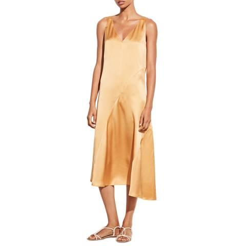 Vince Gold Asymmetric Seam Silk Dress