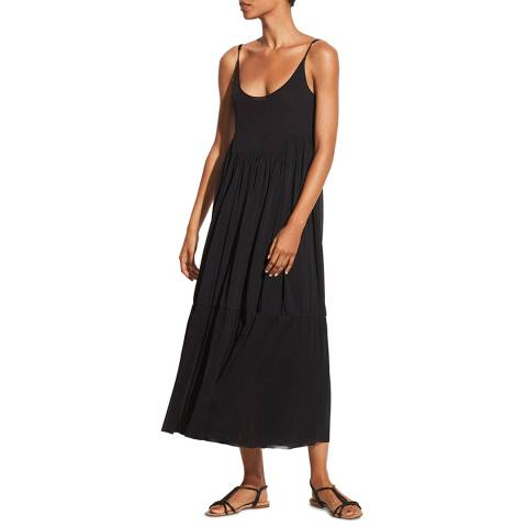 Vince Black Cami Gathered Dress