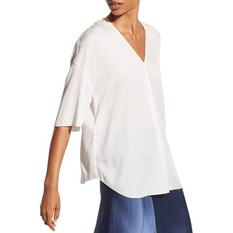 Vince White Half Sleeve Silk Stretch Blouse