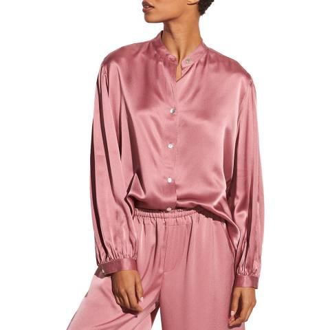 Vince Pink Shirred Silk Satin Blouse