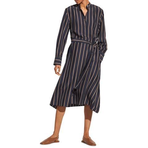 Vince Black Stripe Silk Shirt Dress