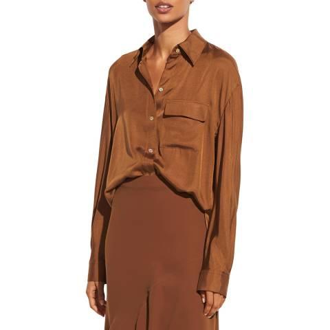 Vince Brown Easy Silk Blend Utility Shirt