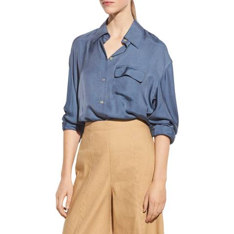 Vince Blue Easy Silk Blend Utility Shirt