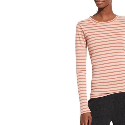 Vince Pink Stripe Feeder Cotton Blend Top