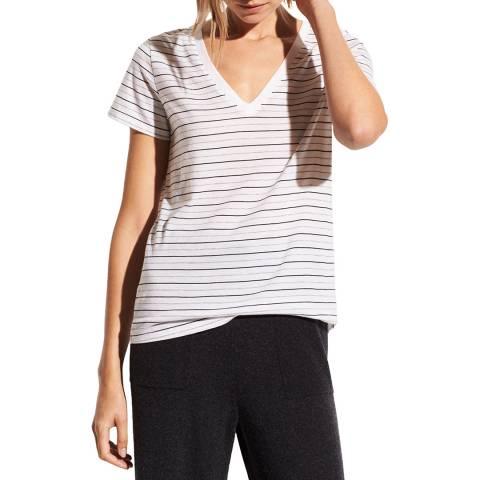 Vince White Stripe Essential Cotton T-Shirt