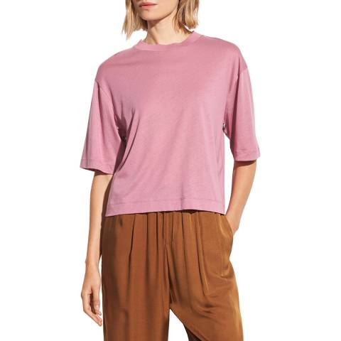Vince Pink Wide Sleeve Cotton Blend T-Shirt