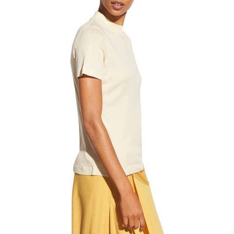 Vince Beige Mock Neck Pima Cotton T-Shirt