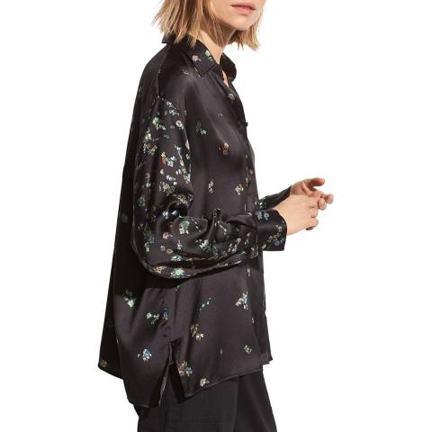 Vince Black Floral Silk Blouse