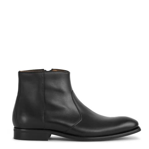 Reiss Black Archie Zip Up Leather Boots