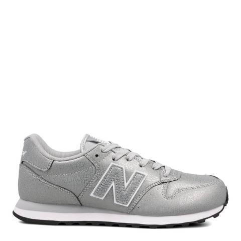 New Balance Silver Metallic 500 Classic Low Sneakers