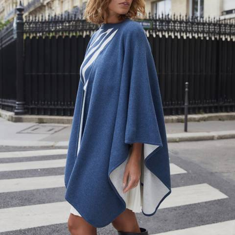 Rodier Blue Double Sided Wool Blend Cape