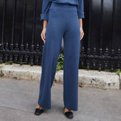 Rodier Blue Wide Wool Blend Trousers