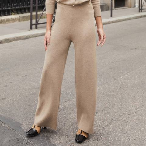 Rodier Camel Wide Wool Blend Trousers