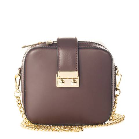Giulia Massari Wine Leather Crossbody Bag