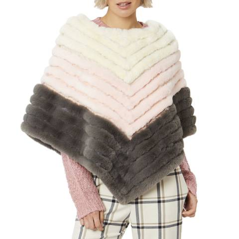 JayLey Collection Pink Faux Fur Faux Suede Striped Poncho