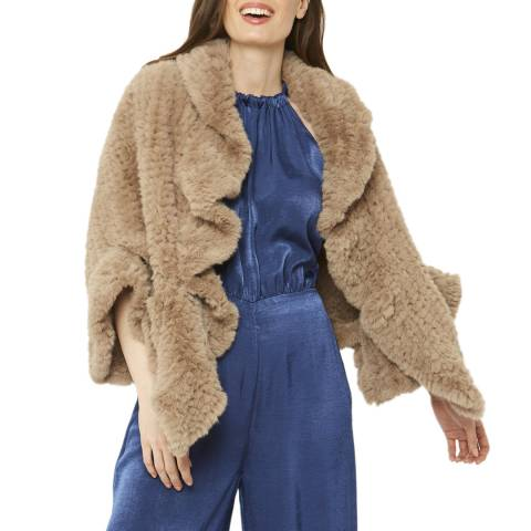 JayLey Collection Brown Faux Fur Cape Wrap