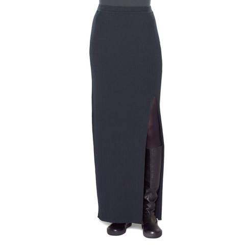 SARAH PACINI Navy Front Slit Long Skirt