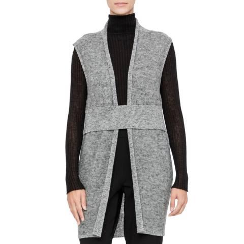 SARAH PACINI Sleeveless long cardigan – v neckline and belt