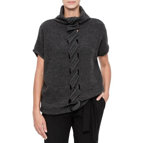 SARAH PACINI Charcoal Wool Blend Twist Jumper