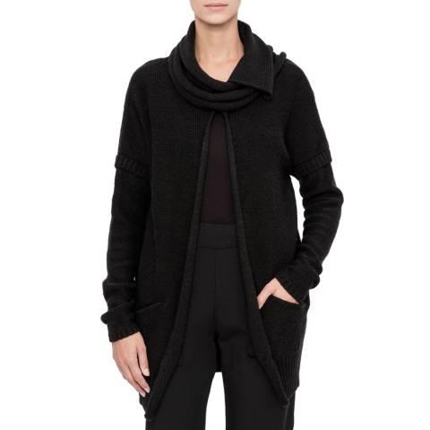 SARAH PACINI Black Wool Blend Long Cardigan