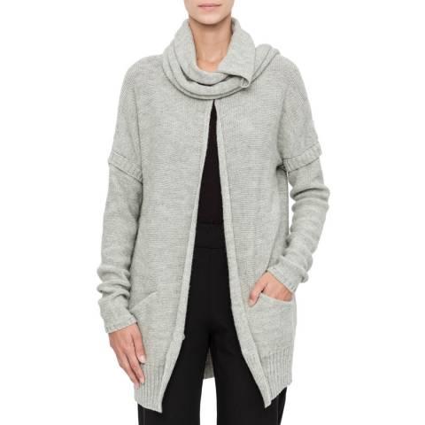 SARAH PACINI Light Grey Wool Blend Long Cardigan