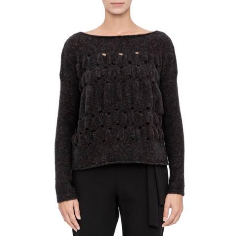 SARAH PACINI Black Wool Blend Short Jumper