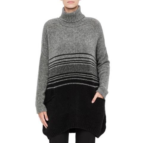 SARAH PACINI Grey Wool Blend Funnel Neck Jumper