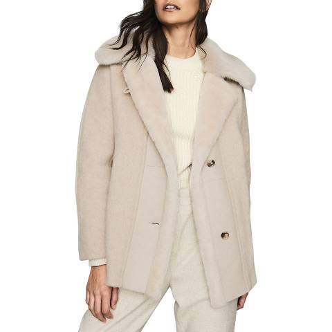 Reiss Beige Kora Wool Blend Coat