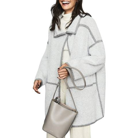 Reiss Grey Bria Herringbone Coat