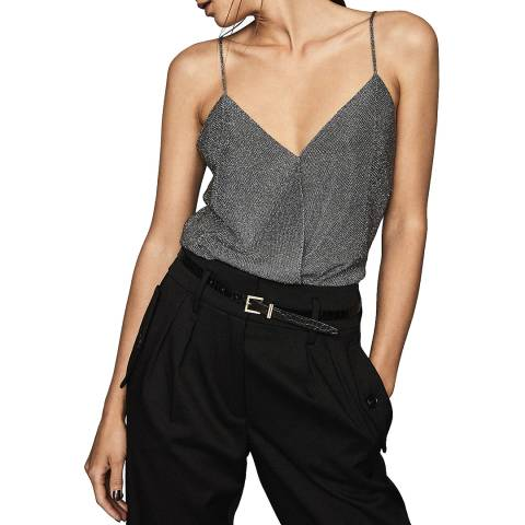 Reiss Charcoal Claudia Metallic Vest Top