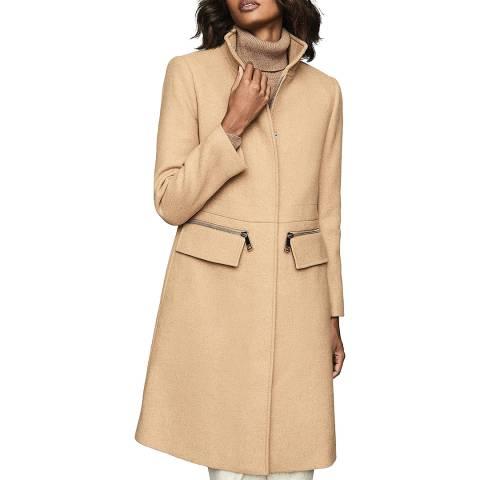 Reiss Camel Macey Wool Blend Coat