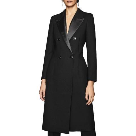 Reiss Black Hadi Wool Blend Coat