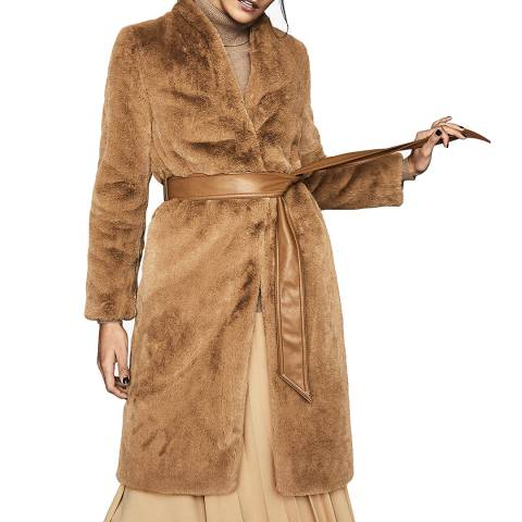 Reiss Caramel Halle Faux Fur Coat