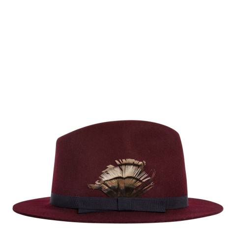 PAUL SMITH Burgundy Feather Fedora Hat