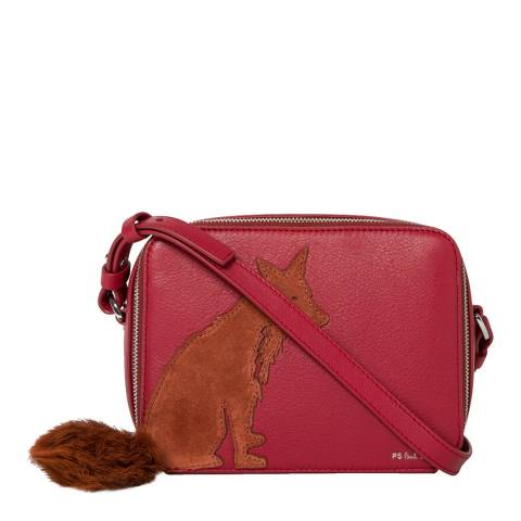PAUL SMITH Brick Red Faux Fur Fox Crossbody