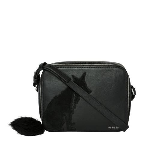 PAUL SMITH Black Faux Fur Fox Crossbody