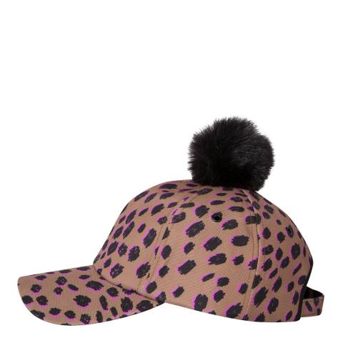 PAUL SMITH Brown Pink Leopard Pom Cap