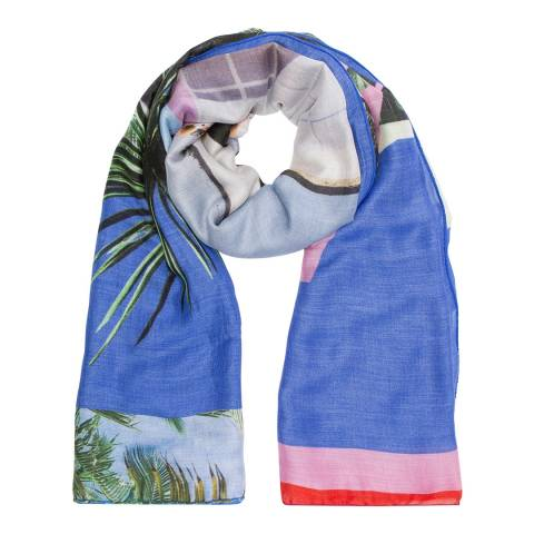 PAUL SMITH Cobalt Blue Photos Scarf