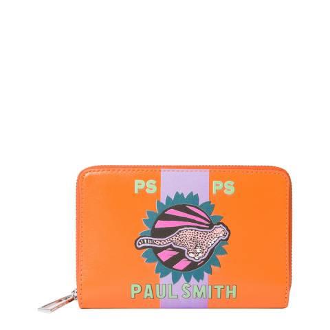 PAUL SMITH Orange Medium Cheetah Wallet