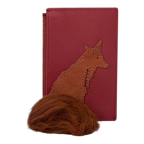 PAUL SMITH Brick Red Faux Fur Fox Zip Purse