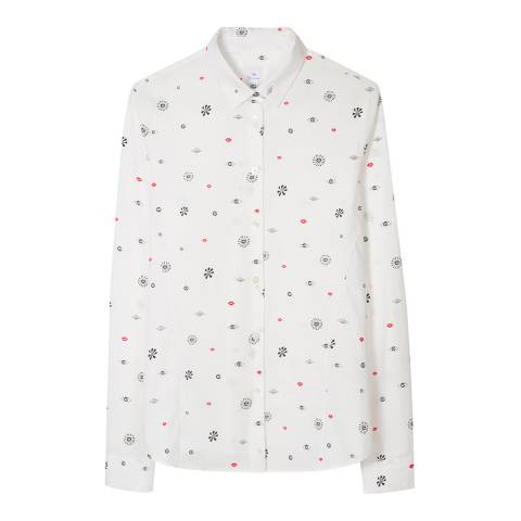 PAUL SMITH White Symbol Print Shirt