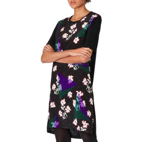 PAUL SMITH Black Flower Print Silk Blend Dress
