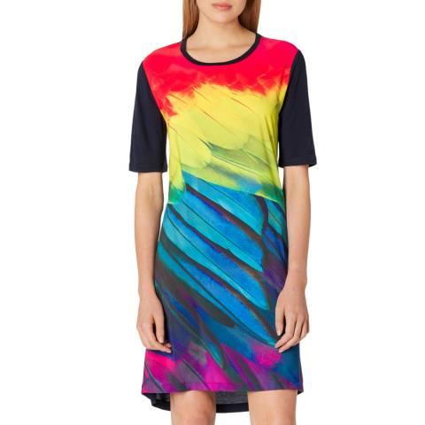 PAUL SMITH Navy Paint Print Silk Blend Dress