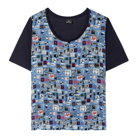 PAUL SMITH Blue Printed Round T-Shirt