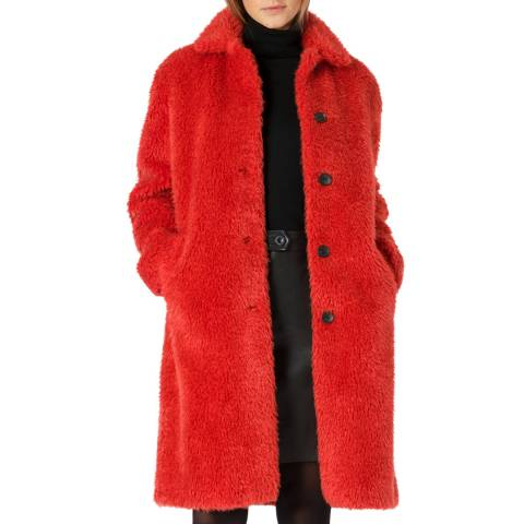 PAUL SMITH Red Faux Fur Coat