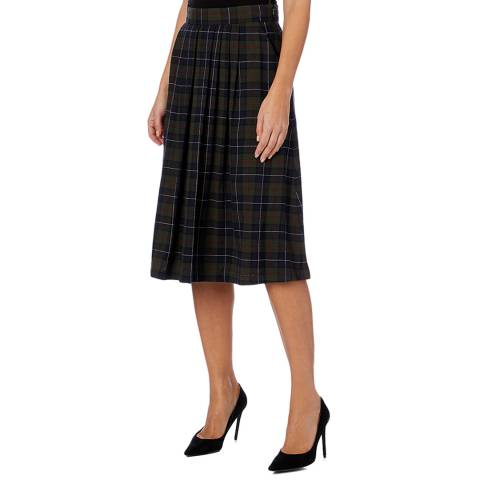 PAUL SMITH Multi Check Pleated Wool Blend Skirt