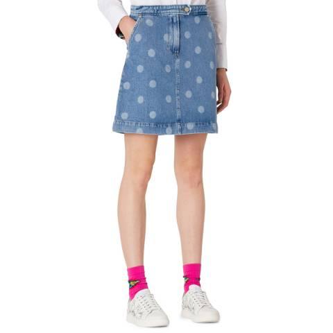 PAUL SMITH Blue Spot Denim Mini Skirt