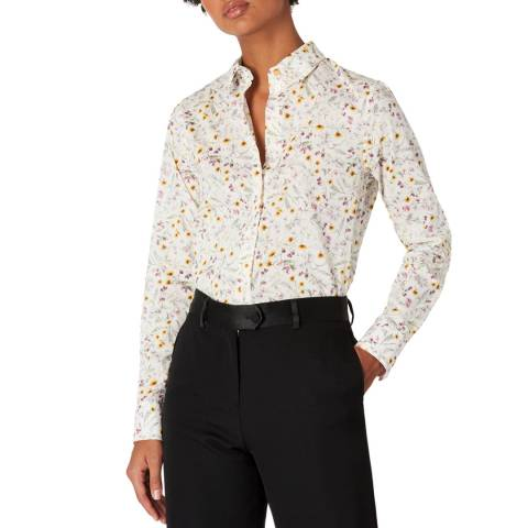PAUL SMITH White Floral Print Shirt
