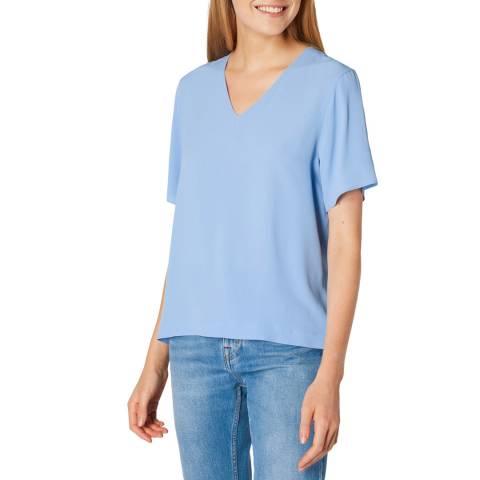 PAUL SMITH Blue V-Neck Silk Blend T-Shirt