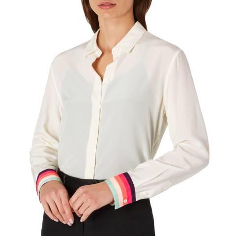 PAUL SMITH White Stripe Cuff Silk Shirt